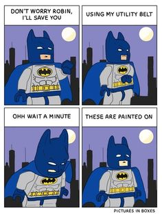 These are some Lego Batman related comics that I did a little while ago.I hadn't intended on posting them as my site was already flooded with Lego themed strips but they were fun to draw so I thought. I Am Batman, Lego Batman Movie, Funny Batman, Gotham Batman, Batman Art, Batman Robin, Lego Humor, Funny Memes, Hilarious