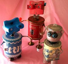 robot assemblage sculpture * SORORITY GIRL - VELVET - BABY… | Flickr Recycled Robot, Recycled Art, Repurposed, Found Object Art, Found Art, Tin Can Crafts, Metal Crafts, Altered Tins, Altered Art