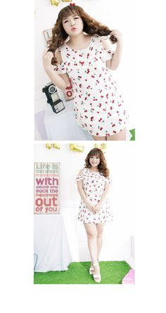 Plus size Asian fashion and cute casual fashion/ cherry baby doll dress