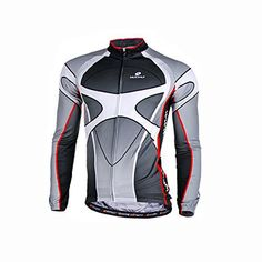 Sponeed Mens Bike Jersey Long Sleeve Cycling Apparel Jacket Bicycle wear  Kit Gears Size S Grey     Check out this great product. 3c9f3ca75