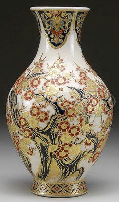 Japanese Satsuma Ware Pottery Vase, decoration of a flowering prunus tree green, red and gosu blue. Japan, circa 1801-1900