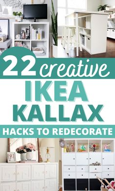 Are you looking for ideas for an Ikea kallax makeover? Try these awesome Ikea expedit hack and ideas for TV stand, bench seat, desk or a bookshelf on a small budget! #ikeahacks #homedecor Ikea Kallax Hack, Ikea Hack Storage, Home Decor Hacks, Cheap Home Decor, Diy Home Decor, Decor Ideas, Kallax Shelving, Ikea Decor, Best Ikea