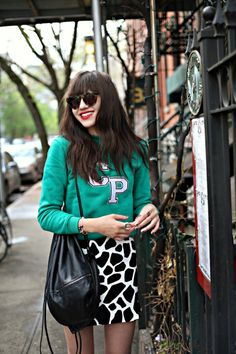 Love Natalie's spotted skirt and bright red lipstick via Natalie Off Duty