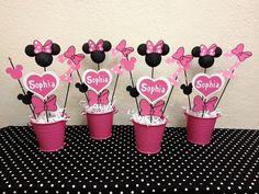 Decoraciones de cumpleaños de Minnie Mouse  juego de 4