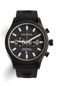 The Nautica NMS 02 Chronograph. The functionality and style of a chronograph watch and also the convenience to match your look. This box set contains an alternate strap so you can choose sleek leather or sporty nylon bands to complement your outfit.