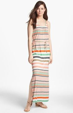 Loveappella Drawstring Stripe Maxi Dress (Petite) available at #Nordstrom