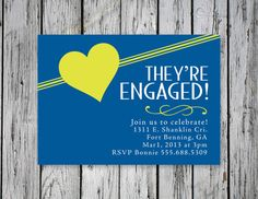 Curvy Engagement Party Invitation / DIY by RejoiceGraphics on Etsy