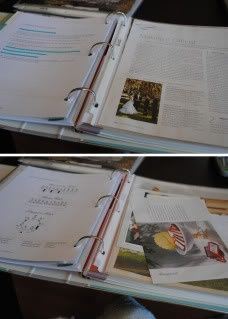 Making a customized wedding planning binder.