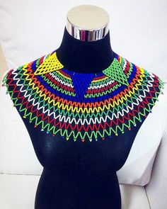 Extra large Zulu beaded web bib necklace African Beads Necklace, Beaded Necklace Patterns, African Jewelry, Beaded Jewelry, Zulu, Tribal Fashion, African Fashion, Afro, African Accessories