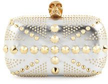 $1,795, Union Jack Skull Metallic Clutch Bag Silvergolden by Alexander McQueen. Sold by Neiman Marcus. Click for more info: http://lookastic.com/women/shop_items/24746/redirect