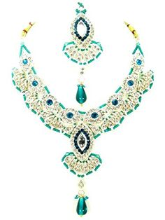 Bollywood Style Indian Imitation Necklace Set / AZBWBR032-GBL Arras Creations http://www.amazon.com/dp/B00TC0O8UC/ref=cm_sw_r_pi_dp_mkG-ub0GTC942