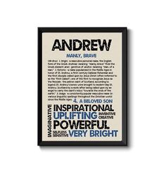 ANDREW Personalized Name Print / Typography Print / Detailed Name Definitions / Numerology-calculated Destiny Traits / Educational