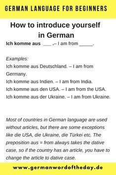 How to introduce yourself in German PDF - German Word Of The Day Basic German Phrases, German Words, Learning German, German Language Learning, Deutsch Language, Study German, Germany Language, Learn Another Language, German Grammar