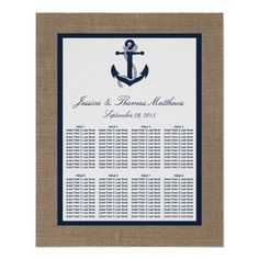 The navy anchor on burlap beach wedding collection is perfect for any couple planning a romantic marriage by the sea. The rustic burlap effect background gives these invitations a boho-chic feel, while the nautical navy blue color can be used throughout your whole wedding. The nautical ship's anchor is the perfect finishing touch for any elegant nautical beach wedding.  <br> <br> These seating charts can be personalized for your special occasion and would make the perfect table arrangements…