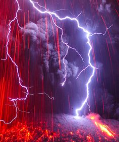 Lightening caused by a Japanese Volcano eruption. Not sure I would stand there but wow!
