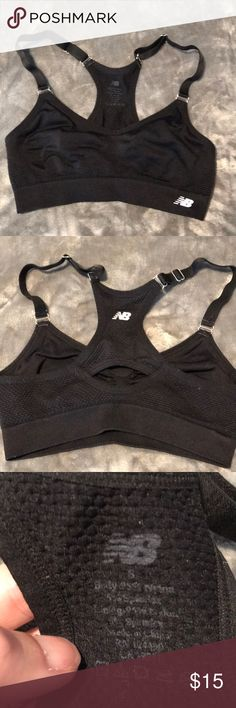 EUC new balance seamless sports bra size S EUC worn once all black with silver hardware. Very comfy fits a bit on the small side in my opinion. Great for running New Balance Intimates & Sleepwear Bras