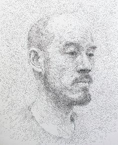 Pen artist  Sam Kim  | Self-portrait | Pen drawing (2011)