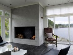 Love this fire place and the serene views over the lake Serenity, Real Estate, Fire, Places, Living Rooms, Home Decor, Nature, Lounges, Decoration Home