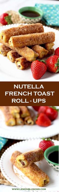 These Nutella French Toast Roll-Ups are a fun, finger-friendly treat for breakfast or brunch. These portable, and easy to make French Toast Roll Ups are filled with delicious Nutella, dunked into custard, sauteed until golden brown and then rolled in cinnamon sugar goodness! #nutella #breakfast #brunch #easybreakfast #cinnamonrolls #frenchtoast #frenchtoastrollups #rollups #easybrunch #churros #breakfastrecipe