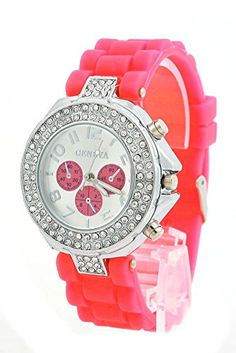 shot-in Lady Girl Women Geneva Silicone Crystal Quartz Movement Jelly Wrist Watch (Red) ** Be sure to check out this awesome product.