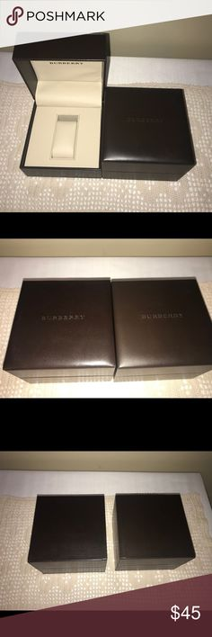 """Burberry watch boxes These are two authentic Berberry watch boxes. One has the watch holder one does not. Both are brown and cream. Measurements are 5"""" x 5"""". Burberry Accessories Watches"""