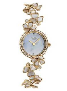 This beautiful timepiece from Raga's Moonlight Collection features a mother of pearl dial with analog function. It is further enhanced with a studded bezel and a floral patterned gold strap adorned with swarovski crystals.