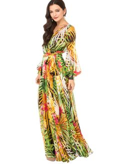 floral chiffon dresses | Long Sleeve Floral Print Chiffon Maxi Dress Women Summer Dress ...