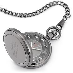 This personalized pocket watch is an impressive accoutrement to any gentleman's attire, especially when you engrave it with a special message. Its customizable gunmetal casing and carbon fiber dial puts an urbane twist to this classic      accessory. He'll think of you each time he checks his watch!<br><br>-A great    personalized gift for Dad, Grandpa or your husband<br>-Two-eye dials inside main dial <br>-Battery included