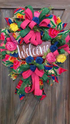 Tulle Wreath, Diy Wreath, Summer Deco, Spring Summer, Wreaths For Front Door, Door Wreaths, Summer Wreath, 4th Of July Wreath, School Wreaths
