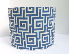 Drum lampshade in a modern fresh french blue Greek Key pattern by LampShadeDesigns, $65.00