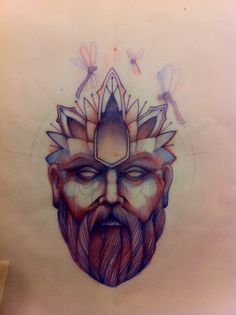 Head Man Tattoo Sketch