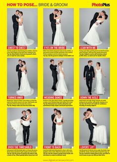 Free wedding poses cheat sheet: 9 classic pictures of the bride and groom More #weddingphotography