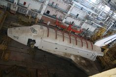 Abandoned Russian shuttle at the Baikonur Cosmodrome