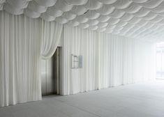 kengo kuma protects japanese office building with carbon fiber curtain Kengo Kuma, Design Set, Garderobe Design, Elevator Lobby, Interior Architecture, Interior Design, Office Interiors, Retail Design, Carbon Fiber
