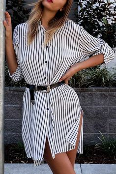 Fashion Stripe Pattern Irregular Hem Shirt Dress - US$17.95 -YOINS