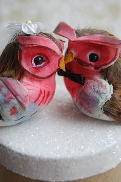 Owl Love Birds Wedding Cake Topper in Raspberry by beckykazana