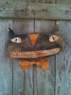 Primitive-Large-Black-Cat-smiling-Halloween-Door-Charmer-greeter-doll-extreme