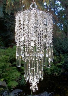 Shimmery Chandelier Vintage Crystal Wind Chime by sheriscrystals, $224.95