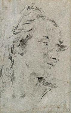 Giovanni Battista Tiepolo - The Head of a Young Woman (32,4 x 20,3 cm)