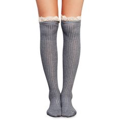 Get Your Frills Ruffle OTK Sock (12 AUD) ❤ liked on Polyvore featuring intimates, hosiery, socks, tights, grey, gray over the knee socks, frilly socks, lace ruffle socks, gray socks and above the knee socks