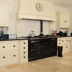 Cream Kitchen with Black Appliances | hand painted cream kitchen custom built in frame kitchen with soft ...