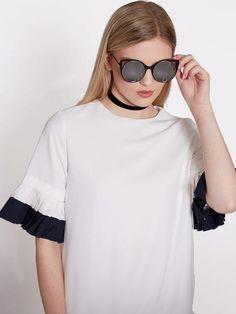 Dahlia Black Metal Cat-Eye Sunglasses with Mirrored Lens