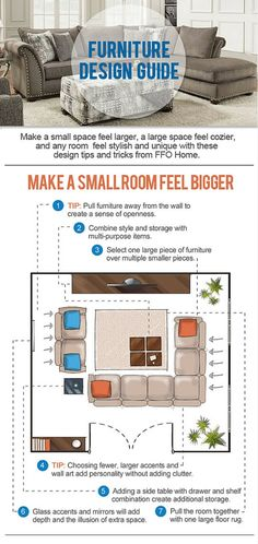 Furniture Design Guide: Spend less money and time making your small space look larger, with FFO Home! See the full infographic on our blog at: https://ffohome.com/blog/infographic-how-to-make-a-small-room-feel-bigger/.
