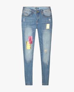 Buy Blue AJIO Distressed Jeans with Foil Print | AJIOLife // My ...