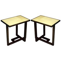 Pair of Parchment Covered Tables after Paul Dupre-Lafon | From a unique collection of antique and modern end tables at http://www.1stdibs.com/furniture/tables/end-tables/
