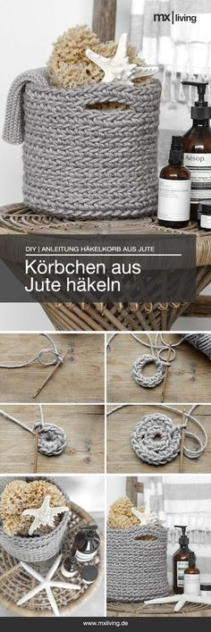 Crochet DIY # knitting and sewing jute basket yourself - DIY strickenundnähen # Crochet jute basket yourself - Crochet Diy, Filet Crochet, Crochet Hats, Knitted Bags, Knitted Blankets, Baby Blankets, Handmade Bags, Handmade Home, Animal Set