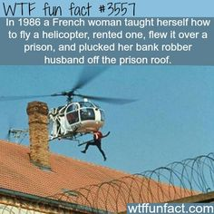 real life prison escape using a helicopter - WTF Facts Wtf Fun Facts, Funny Facts, Random Facts, Random Stuff, Funny Stuff, Crazy Facts, Funny Tweets, Random Things, Funny Memes