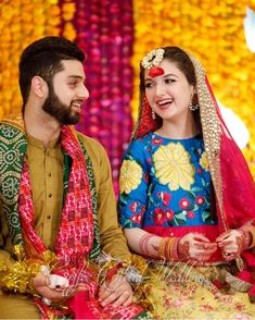 Beautiful Mehandi Girl Photo With Her Boy, Hina Photo Of Lovely Couple Sitting Together.