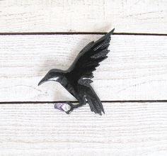 Gothic Flying Crow Brooch by PensiveTeddyOfStyle on Etsy