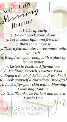 Self-Care Morning Routine.  Take Note of #2 →  www.WildlyAliveWeightLoss.com